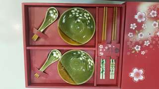日本花葉圖案碗具套裝