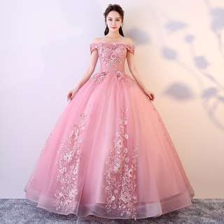 Gown Collection - Pink Lady T-Off Shoulder Sweet Puffy Gown