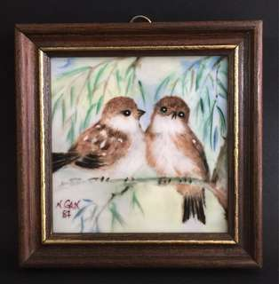"Narumi Bone China-Japan Porcelain Painting ""Sparrows"" by Singaporean Artist Nancy Gan '87 (Singapore Airlines)"