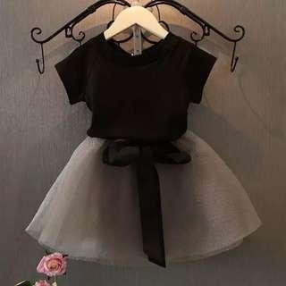 🚚 女童短袖+紗裙套裝 2018夏裝新款 韓版兒童T恤半身短裙兩件套裝(120cm)