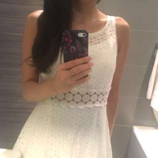 White Eyelet Summer Dress with Hollow out