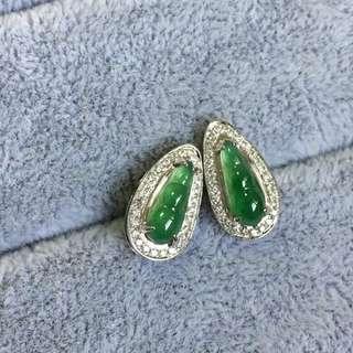 18K鑽石天然A貨豆耳釘