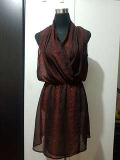 Mango Suit Sheer Black Red and Black Coverup Dress