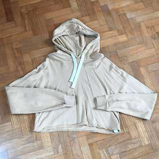 bershka light brown cropped hoodie