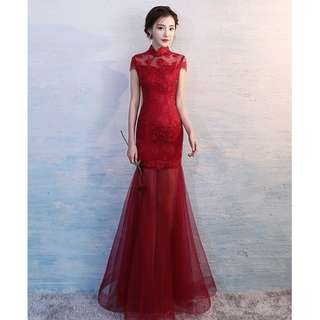 Gown Collection - Fusion Wine Red New Style Cheongsam Mermaid Design Gown