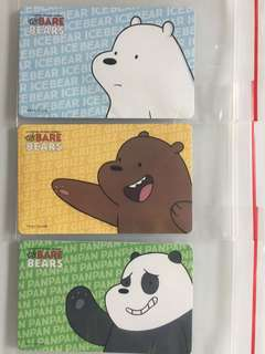 Limited edition brand new We Bare Bears Set Of 3 ezlink Cards For $33.90.
