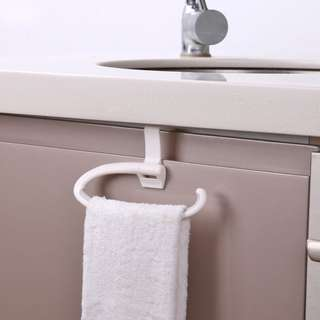 廚房毛巾架 免打孔衛生間浴室浴巾架掛鉤 塑料置物架子單槓 (2個裝)