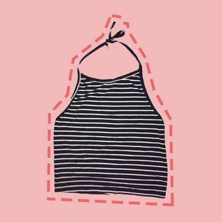 Tie Knot Striped Halter Top