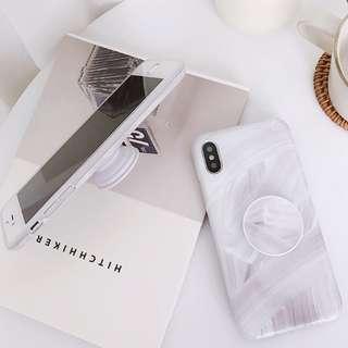 #手機殼IPhone6/7/8/plus/X : 冷淡風復古油畫配氣囊支架全包邊軟殼