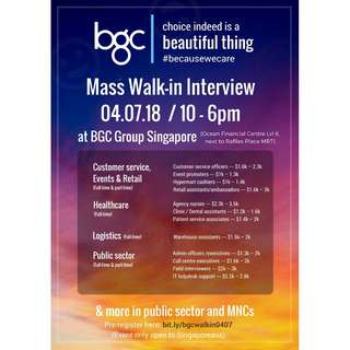 Mass Walk-in Interview for Singaporeans (04/07/2018)