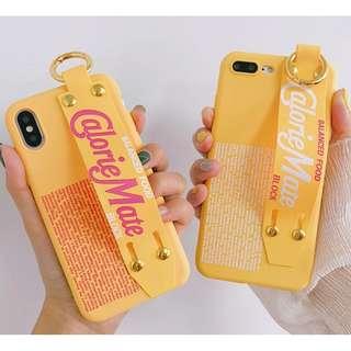 #手機殼IPhone6/7/8/plus/X : 黃色潮牌字母配腕帶全包邊軟殼