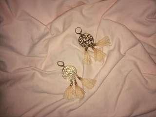 Gold and Peach Tassel Earrings