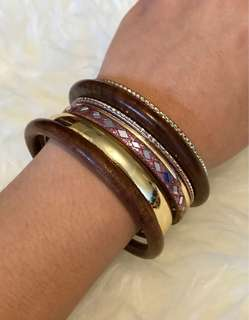 Assorted Bohemian-style Wooden and Metal Bangles (set of 7)