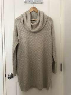 H&M Beige Oversized Knit Turtleneck Sweater