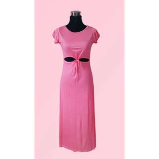 Peachy Pink Front-Tied Dress w/ Slits