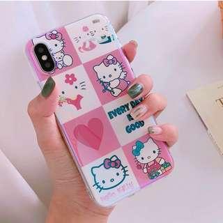 #手機殼IPhone6/7/8/plus/X : HelloKitty吉蒂貓八宮格藍光全包邊軟殼