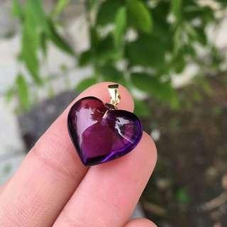 纯天然紫色紫水晶🔮爱心吊坠