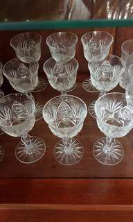 🚚 Vintage Hand Carving Crystal Czechoslovakia Wine Glass x 9pc