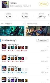 League of legend platinum account