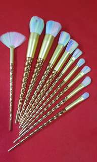 10 pcs Gold Unicorn Makeup Brushes