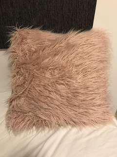 Dusty pink fluffy cushion