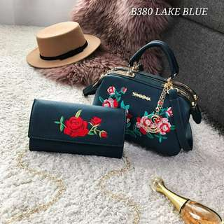 Sembonia Embroidery Sling Bag Lake Blue Color