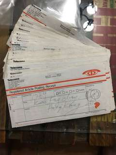 1 lot of Registered article posting receipt