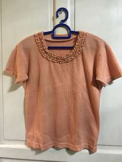 Peach Ribbed Top with Pearls