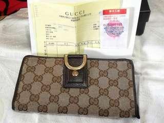 🚚 (賠錢賣)保證專櫃正品Gucci真皮織布長夾/附購證發票)