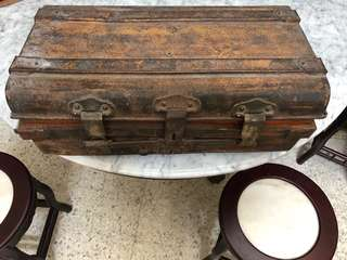 antique iron travelling luggage .70 -80 yrs old