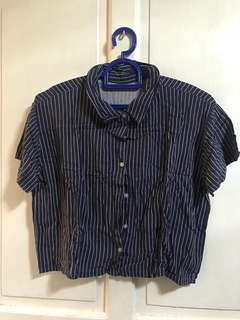 Blue and White Striped Crop Polo