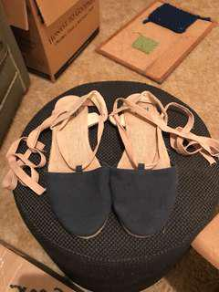 Just Jeans espadrilles ribbon lace up navy tan Size 9