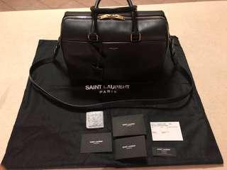 AUTHENTIC Saint Laurent Classic Duffle 6 Bag Black Calfskin Gold Hardware