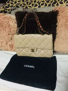 Preloved chanel lambskin two way bag! Rare color!
