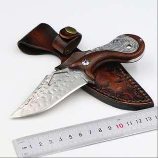 Damascus Small Straight Knife 大马士革刀花钢小直刀#465