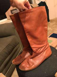 Witchery brown leather boots mid calf Size 41
