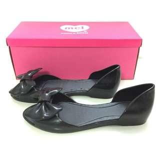 🚚 Melissa 香香鞋 巴西尺寸37(Mel 可愛蝴蝶結平底 魚口鞋-黑色)