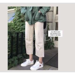🚚 棉麻鬆緊腰褲 米白色