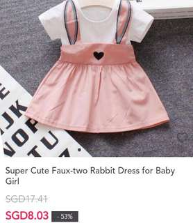Super Cute Faux two Rabbit Dress for Baby Girl