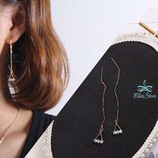 🚚 Chis Store【三點鑽耳線】韓國 簡約 一字 三角形 水鑽 鑽石 抗過敏 垂墜耳環 耳線 耳環 真金 ML895