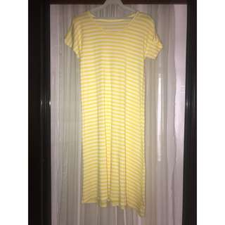 (FREE SHIPPING) Bangkok Yellow and White Stripe Dress With Sleeves