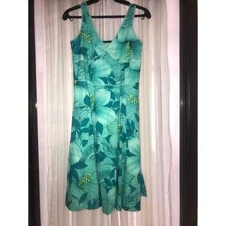 (FREE SHIPPING) Bossini Aqua Floral Sleeveless Dress