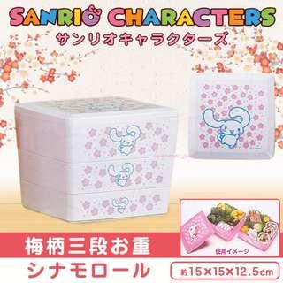 🇯🇵✨日本直送✨Sanrio Characters - Plum Blossom Print 3-tier Box -Cinnamoroll {玉桂狗三層多用途盒/可當LUNCHBOX) -15cm✨