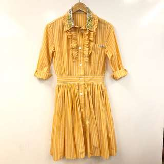 Miu Miu orange with white stripes crystal dress size 36