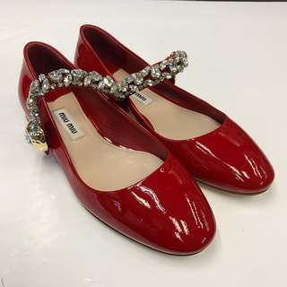 全新 Miu Miu Patent Flat Shoes