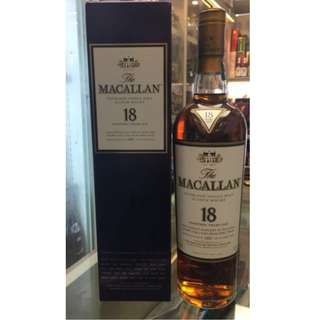 The Macallan 18 sherry oak whisky 700ml 1997年
