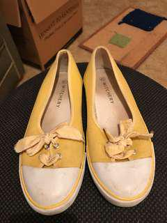 Witchery yellow stripe bow canvas sneaker flats Size 41