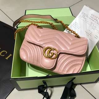 Gucci GG Marmont Shoulder Bag Dusty Pink Color