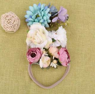 BN 3Pcs Pretty Girls' Hair Accessories Flowers Floral Headband Hairband for Newborn Baby Girl / Toddler
