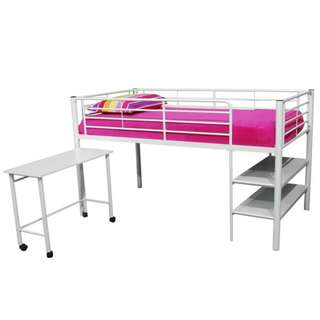 Metal bunk bed with desk (ranjang susun besi dengan meja)